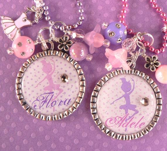 BALLERINA NECKLACE, Ballerina Silhouette, Personalized Bezel Necklace, Ballet, Dance Recital, Tutu, Dance, Dancer, Birthday Gift, Bottle Cap