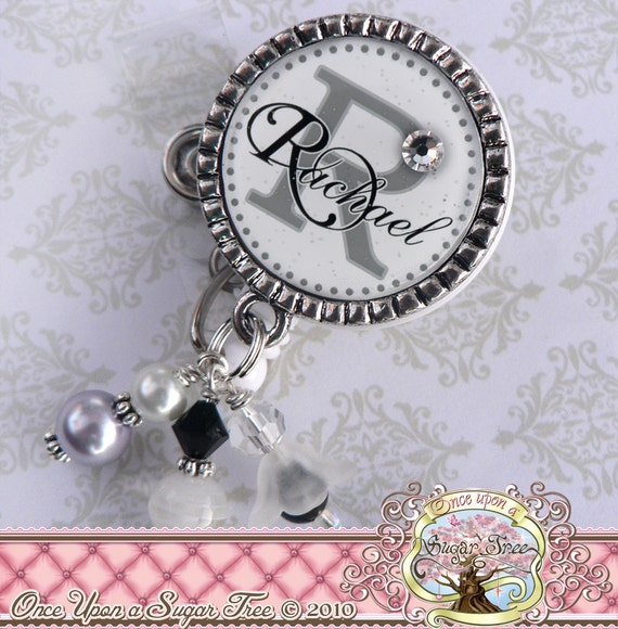 Personalized Initial Name ID BADGE REEL, Nurse Id Badge Reel, Rn Np, Bottle cap, Doctor Medical, Teacher Gift, Hospital Staff, Lanyard