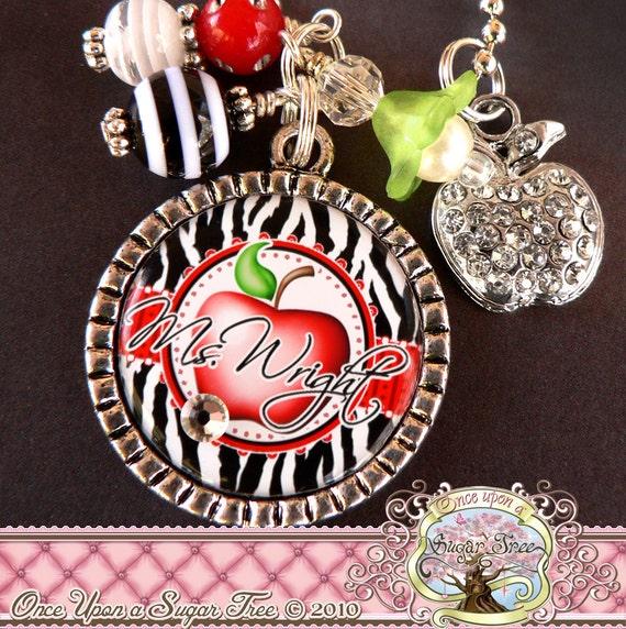 TEACHER GIFT PERSONALIZED Name Bezel Necklace, Zebra Print, Apple, Bottle Cap Bottlecap (or Keychain)-Teacher Appreciation Gift Present
