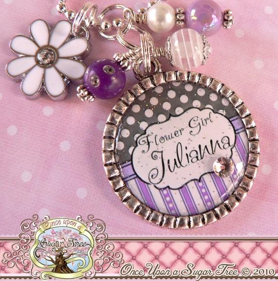 Flower Girl Necklace, Personalized Name Bezel Pendant Necklace, White Flower Charm, Wedding Gift, Birthday Gift