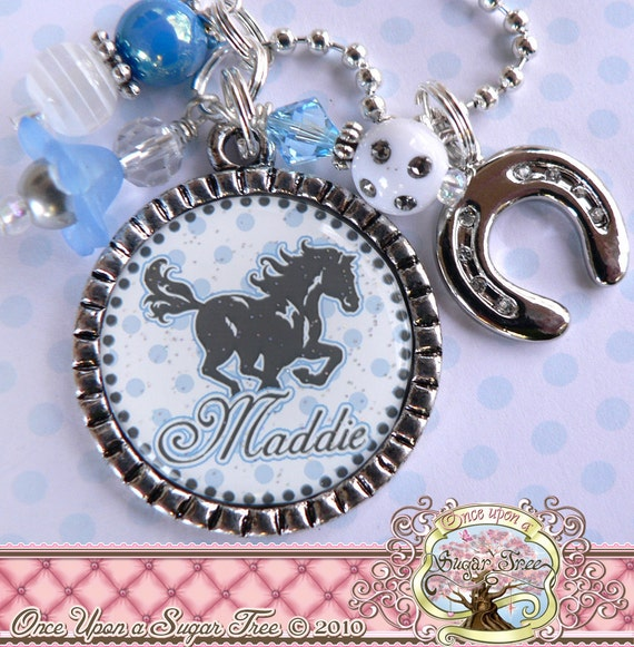 Personalized Horse Cowgirl Necklace, Bottle cap, Horseshoe Charm, Horse Lover, Western, Birthday Gift, Bottle cap, Grey Blue Polka Dots