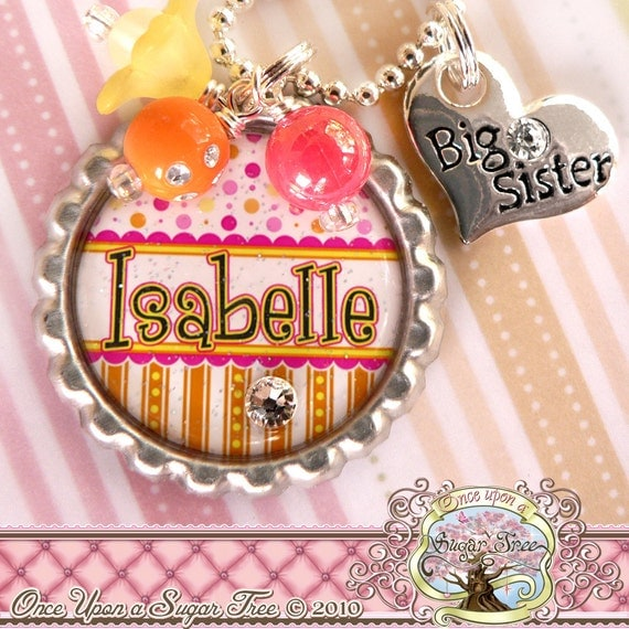 Big SISTER Necklace, Personalized Name Bottle Cap Necklace, Big Sister Charm, Birthday, Gift, New Sister,Heart Charm, Pregnancy Announcement