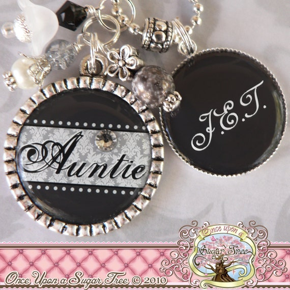 AUNT Double Pendant Bezel Necklace (or Keychain), Charcoal and Grey, Children's Names, Grandma, Nana, Mom, Gift Present, Noni, Mimi