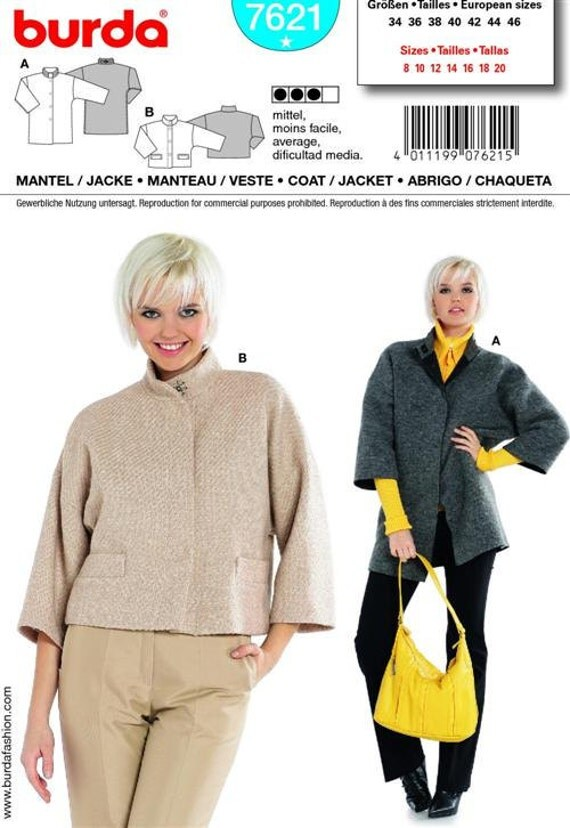 Burda's Pattern 7621 Misses' Coat in Two Lengths Sizes 8-20 NEW