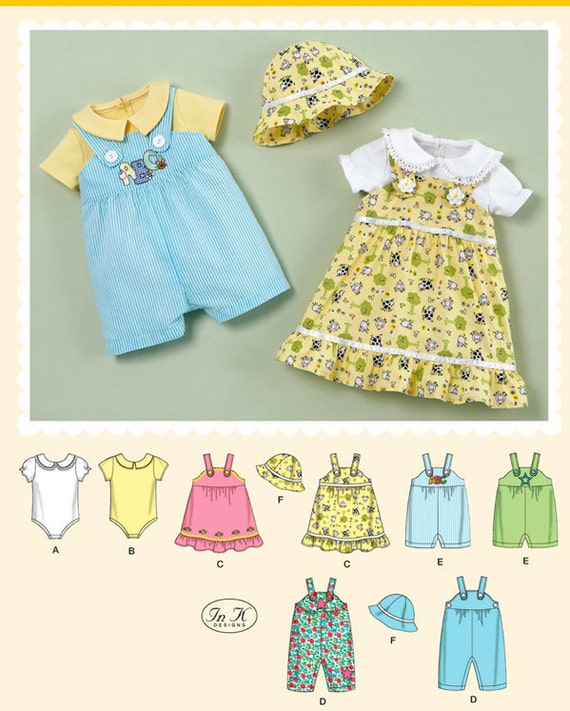 Simplicity Pattern 2905 Babies' Onesies, Jumpers, Rompers and Hat Sizes XXS-L (0-18 Months) NEW