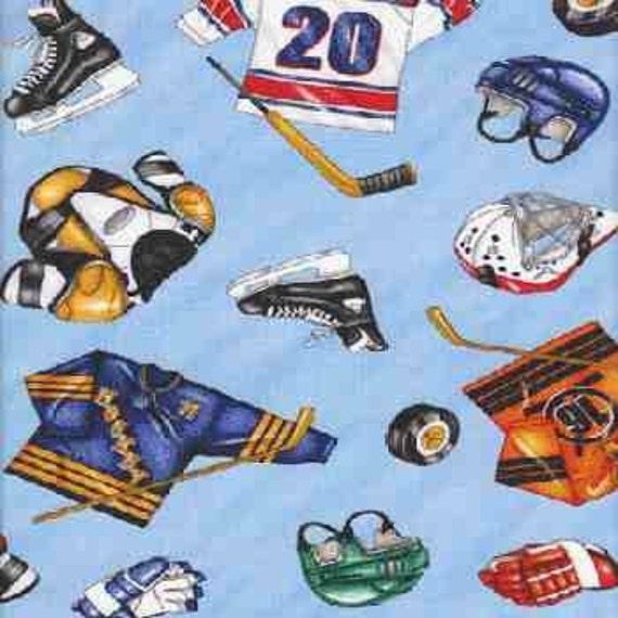 Cotton Novelty Fabric, Hockey, by Timeless Treasures