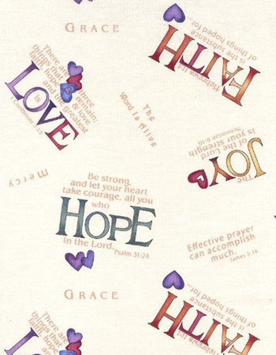One Yard Cotton Quilting Fabric Religious Theme Words Of Hope