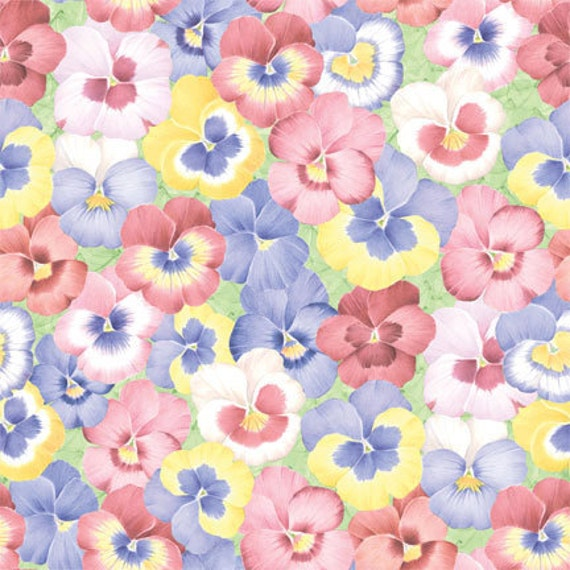RESERVE LISTING for Joy Suzanne, 1-1/2  yard quilting fabric, Garden Gate, Pansies, by Mary Love Hilborn, for Wilmington Prints