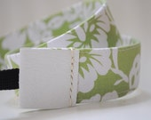 REVERSIBLE Camera Leather Strap - White floral with white leather ends