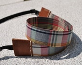 REVERSIBLE Camera Leather Strap - Vintage checked with middle brown leather ends (OWNER WORD)
