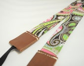REVERSIBLE Camera strap - Frenzy floral with middle brown leather ends (OWNER WORD)