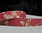 REVERSIBLE Camera strap - Chinese Breeze - Cameo Brown Bloom with middle brown leather ends (OWNER WORD)
