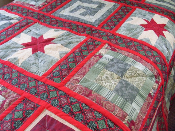 Full Size Christmas Quilt in Red, Burgandy, and Greens