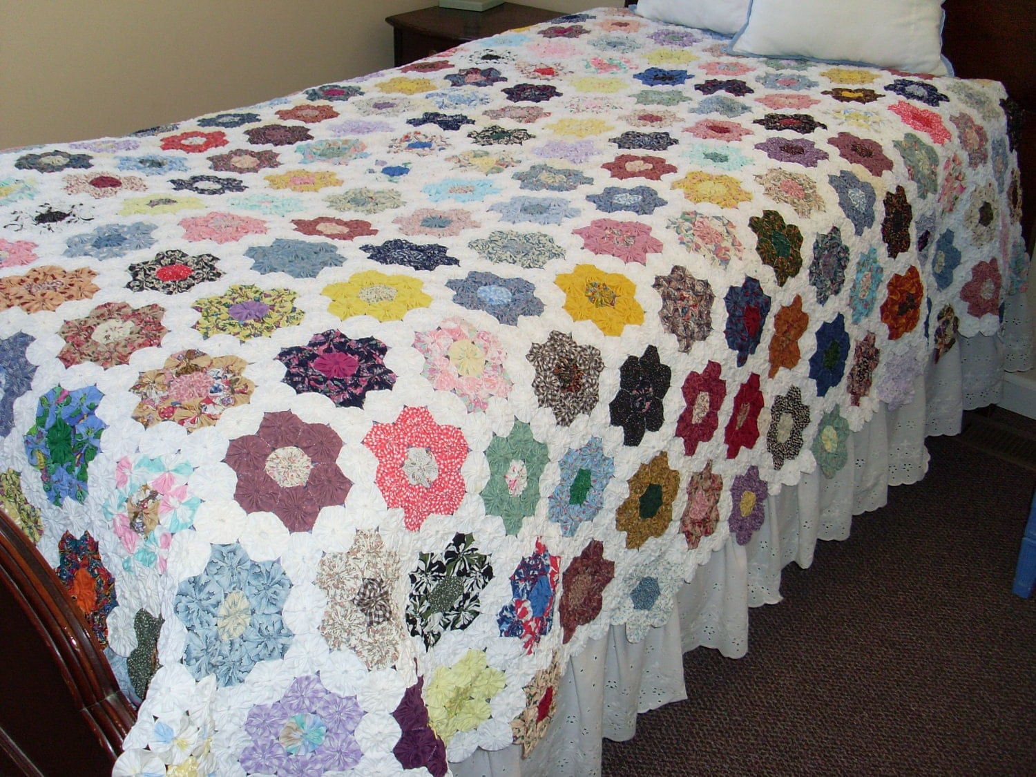 Crib size quilts for sale - Sale Twin Size Yo Yo Quilt Handmade And Handstiched