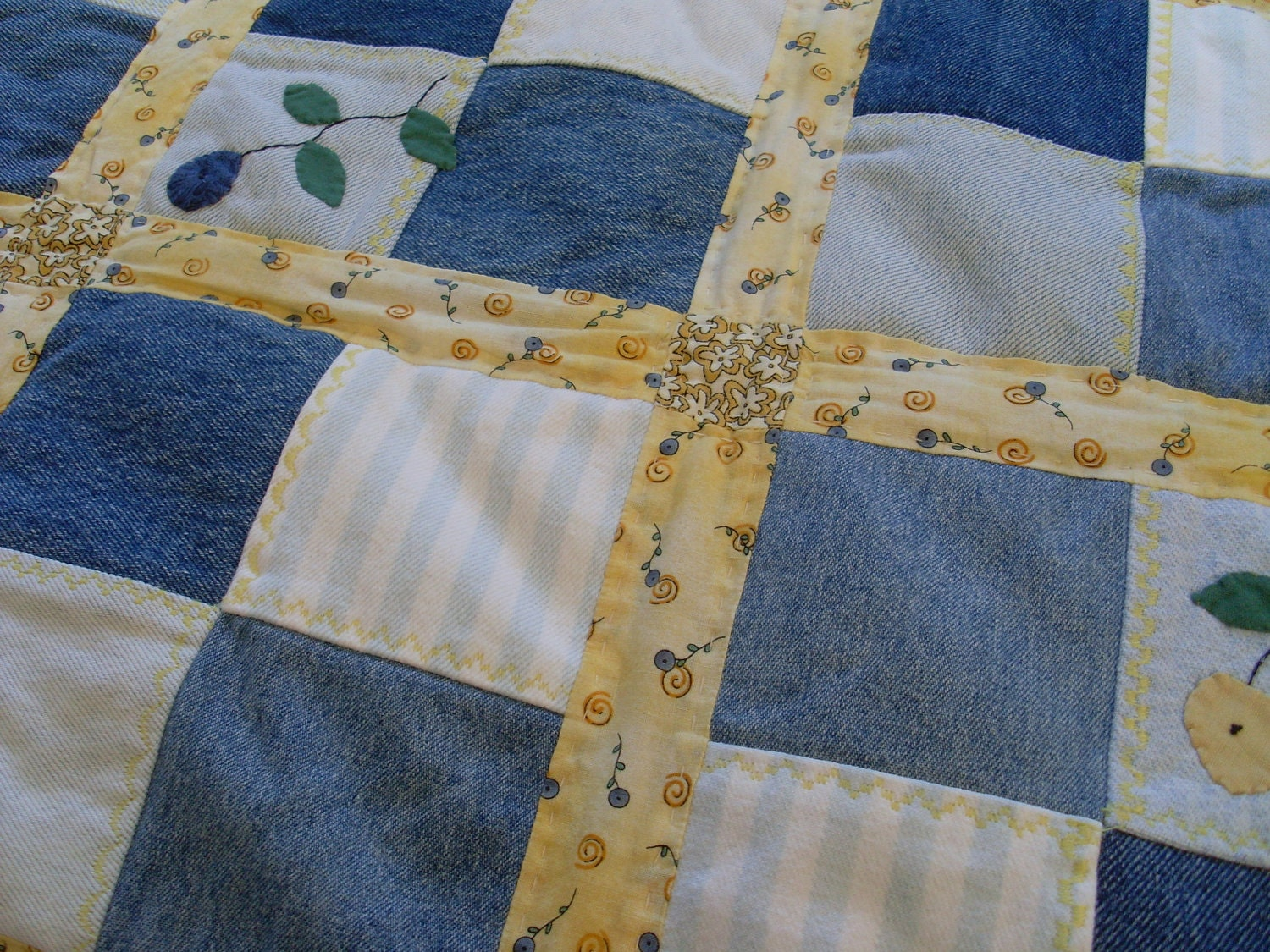 Upcycled Denim Patchwork Quilt With Applique Made In Usa