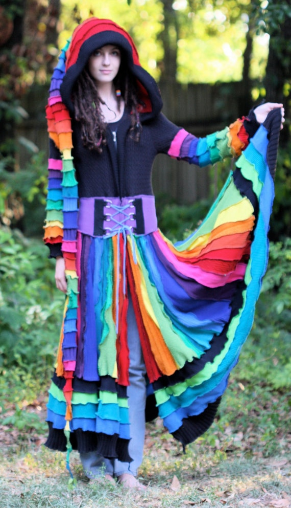 Made for you Custom size and color palette recycled sweater elf fairy patchwork  corset gypsy traveling coat