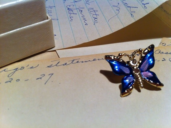 Small Bright Blue and Purple Butterfly Pin