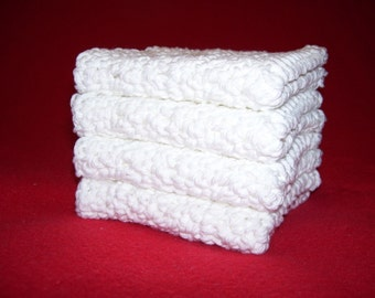 4 Large 100% cotton Dish Rags/ dish cloths/ wash cloths pure white in color
