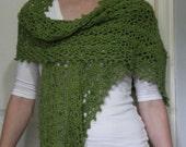 Long Crochet Wrap in Foliage Green