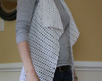 Open Motif-Back Drapey Vest Crochet Pattern