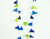 Carnival by the sea - mini bunting necklace, felt, silver plated chains
