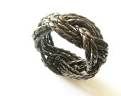 Nautical knot cuff bracelet in Coffee brown genuine leather - City Gal Collection