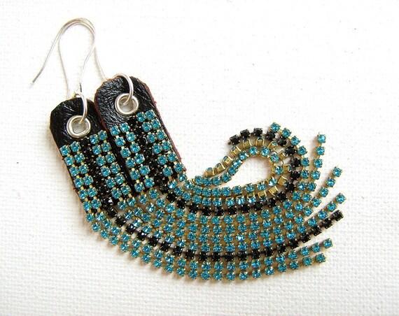 Azzurro earrings - Swarovski chain fringe, leather, sterling silver