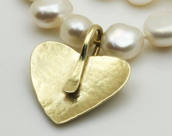 Pearl necklace, gold heart necklace, gold pearl necklace wedding, 14k solid gold necklace, unique pearl jewelry