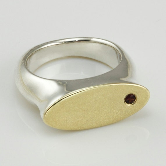 Signet ring for women, 14k gold and silver ring, sterling silver gold ring