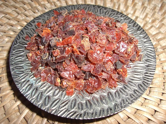 ORGANIC Rose Hips - Chopped and Dried - Great in Tea - Delicious, Healthy, AND Promotes LOVE and Luck - Half Ounce
