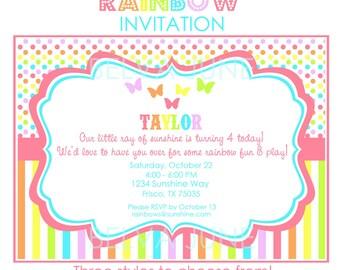 DIY printable RAINBOW Invitations