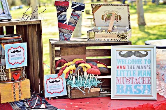 DIY Printables Little Man Mustache Bash Blue & Red