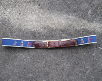 vintage blue sailboat belt with brown leather buckle 60s- sale