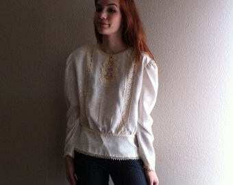 victorian era cream blouse with lace and button detail, medium large- sale