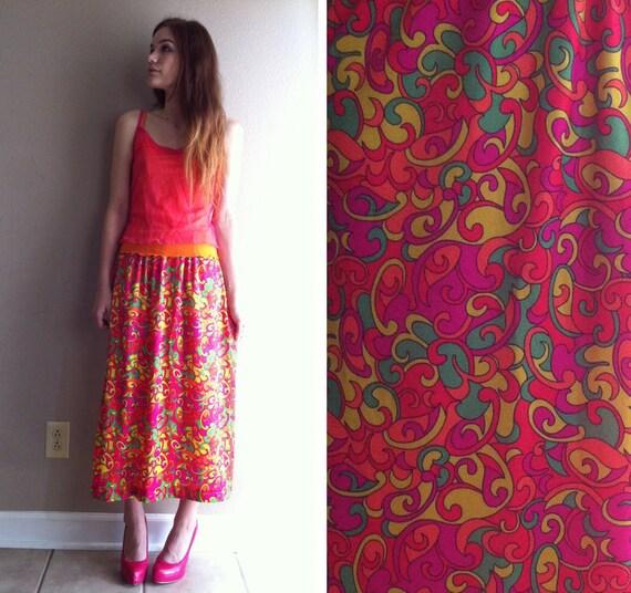awesome acid trip funky neon swirls psychadellic SMALL hippie skirt- DEADSTOCK- SALE