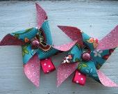 Pair of Pink and Blue Pinwheel Hair Clips