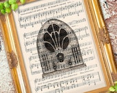 Antique Old School TUBE RADIO illustration art print over an upcycled vintage sheet music page Buy 3 get 1 Free