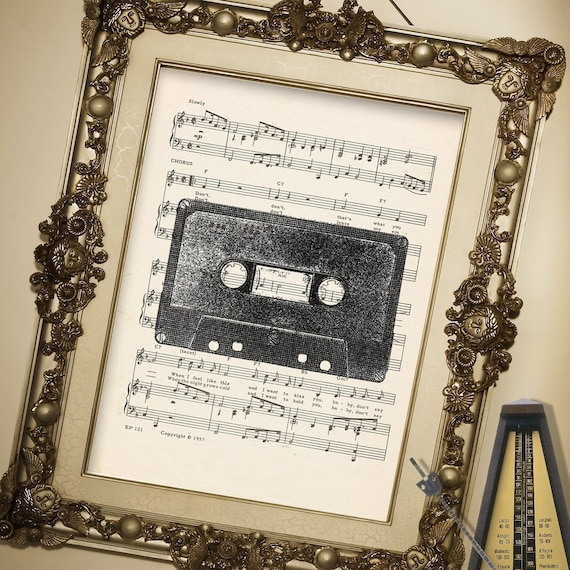 Awesome MIX TAPE CASSETTE illustration art print over an upcycled vintage sheet music page Buy 3 get 1 Free