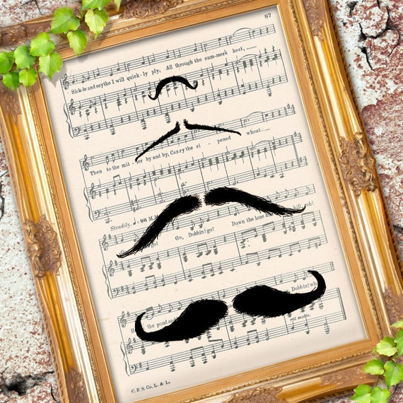 Parade of the Mustache illustration art print over an upcycled vintage sheet music page Buy 3 get 1 Free