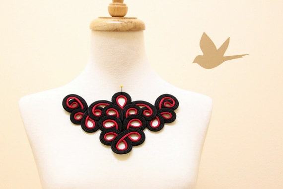 Red and Black color   Rayon Cord Applique