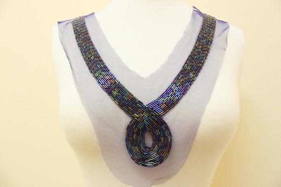 Rainbow Color Beaded Applique on Royal Blue/Purple  Mesh