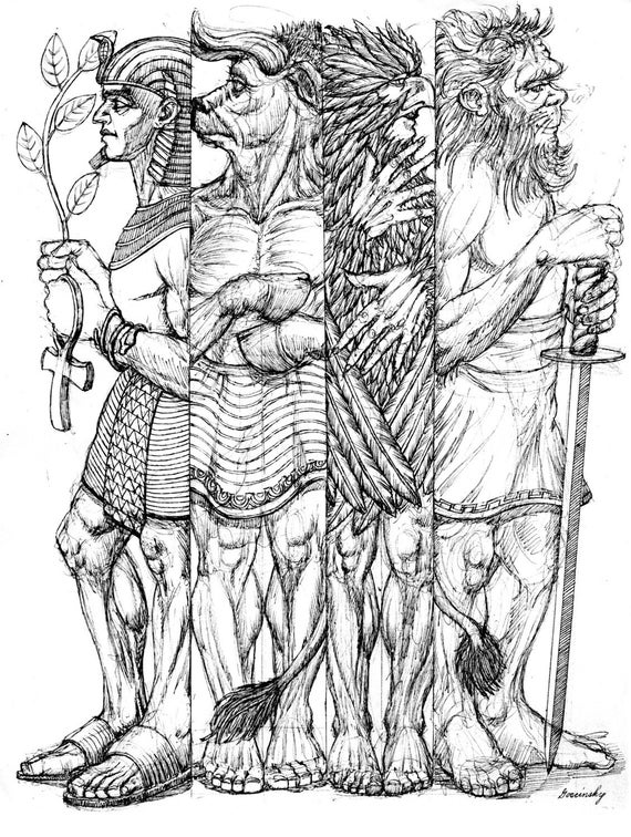 Egyptian Lion Drawing Items Similar to Egyptian