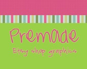 Premade Etsy Banner and Avatar Shop Set - Happy Stripes