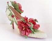 Rose Garden - Handmade Papershoe - Shoe art - Paper sculpture - Design shoes- Free Shipping
