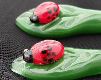 LadyBug Hairsticks pair
