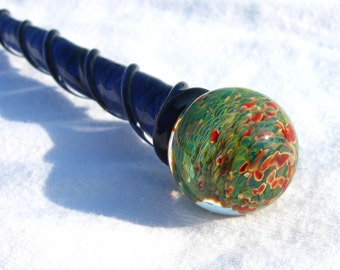 Marble Hairstick Red and Green Textured