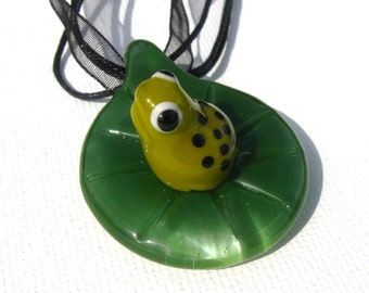 Baby Frog On LilyPad Pendant