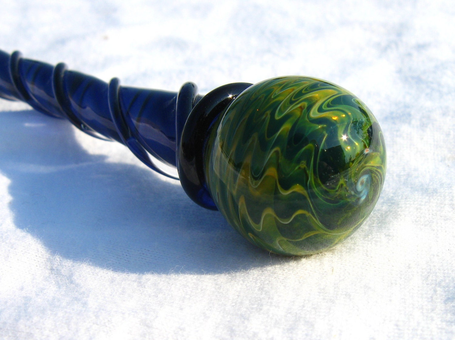 Exotic Green Marble : Marble hairstick exotic green