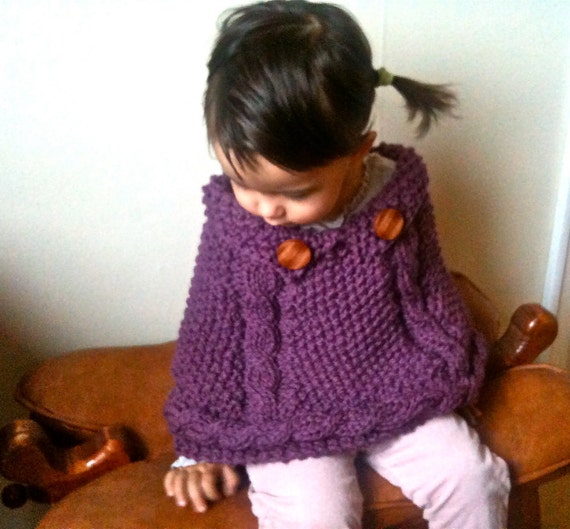Knitting Pattern Chunky Cape : PDF Knitting Pattern Chunky Cables Cape for Toddler