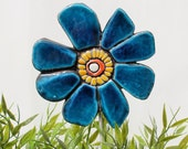 Flower garden decor -  garden art - garden sculpture - ceramic and metal - lawn ornament - plant stake - buttercup deep turquoise